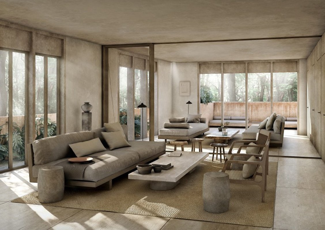 living room in jungle setting