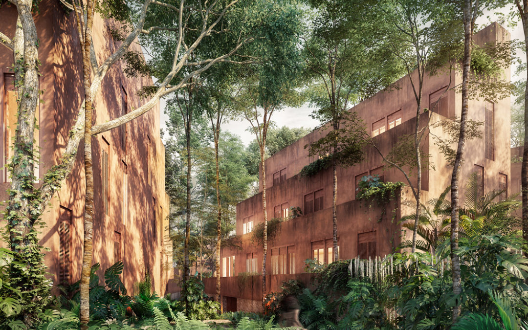 private villa within lush jungle