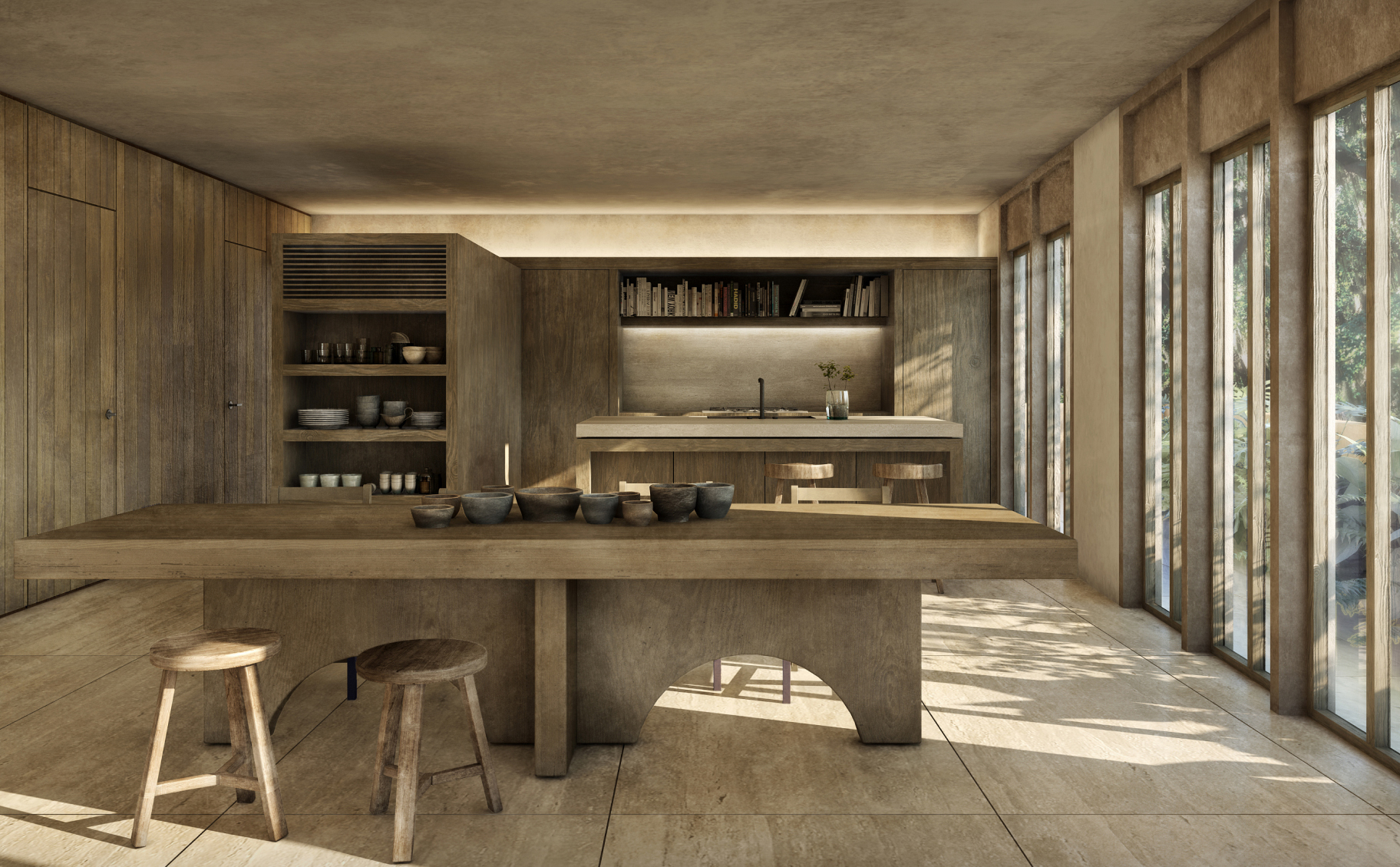 gourmet kitchen with open layout