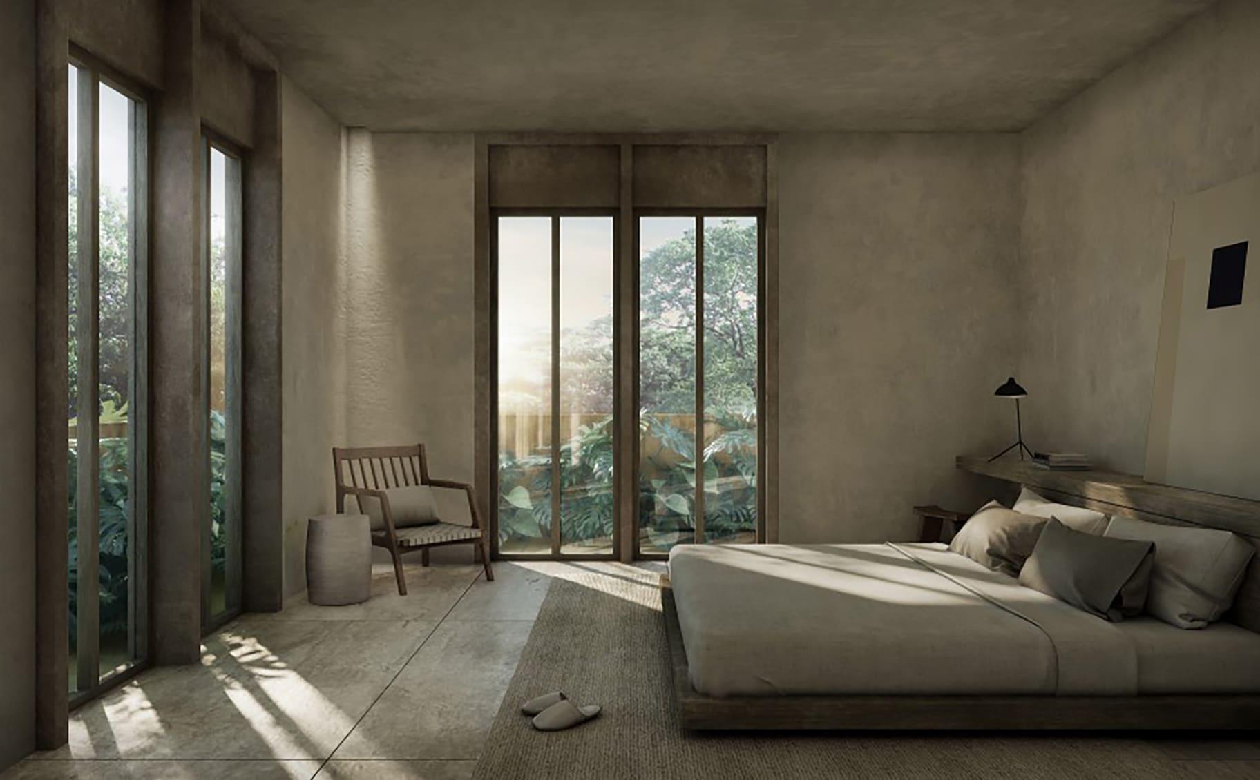 master bedroom with minimal decor