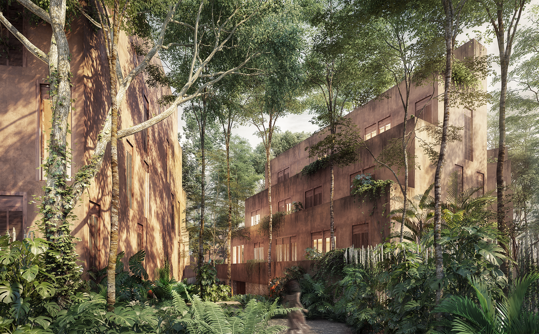 home immersed in rainforest