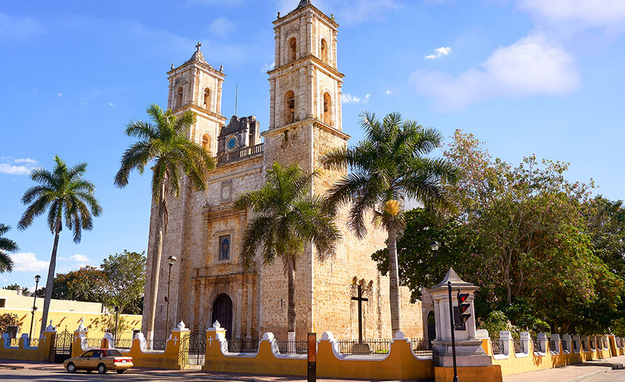 old church in colonial mexican town