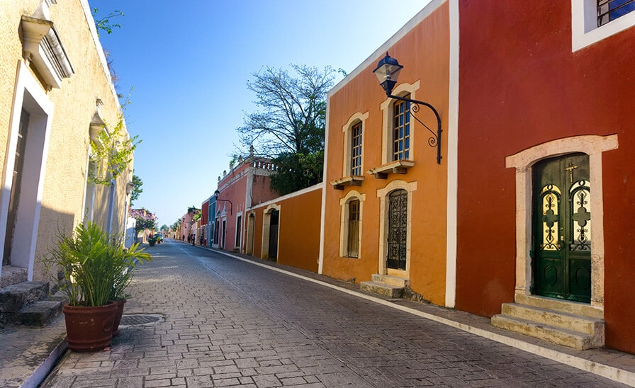 colorful buildings in colonial mexican town